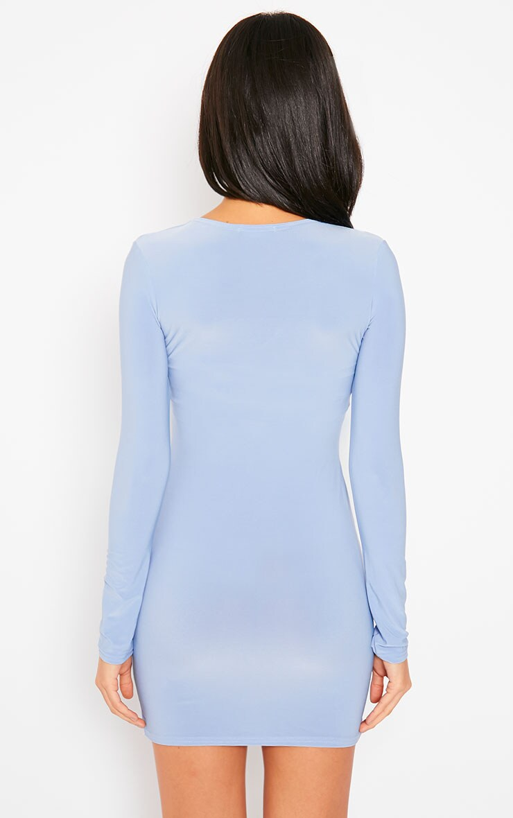 Tamika Powder Blue Slinky Plunge Mini Dress 2