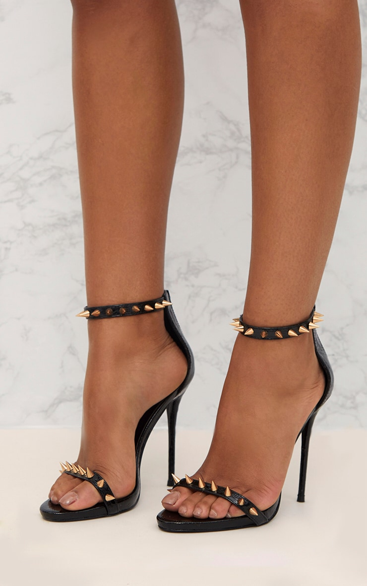 Black Stud Detail Strappy Stiletto Heels 5