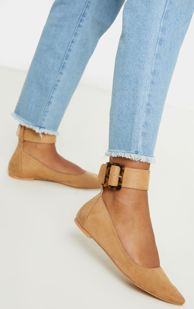 Tan Point Toe Ankle Cuff Ballet Shoes