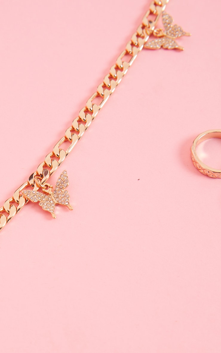 Gold Dainty Chain Pave Butterfly Necklace 4