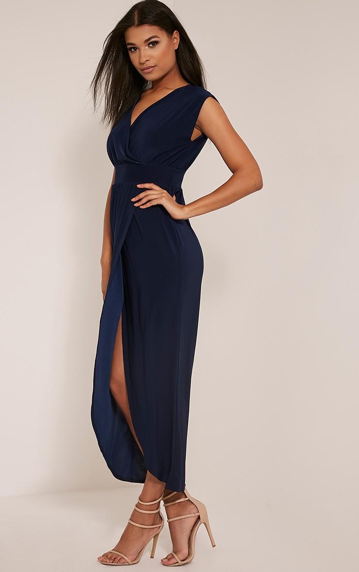 Marlisa Navy Slinky Plunge Maxi Dress 6