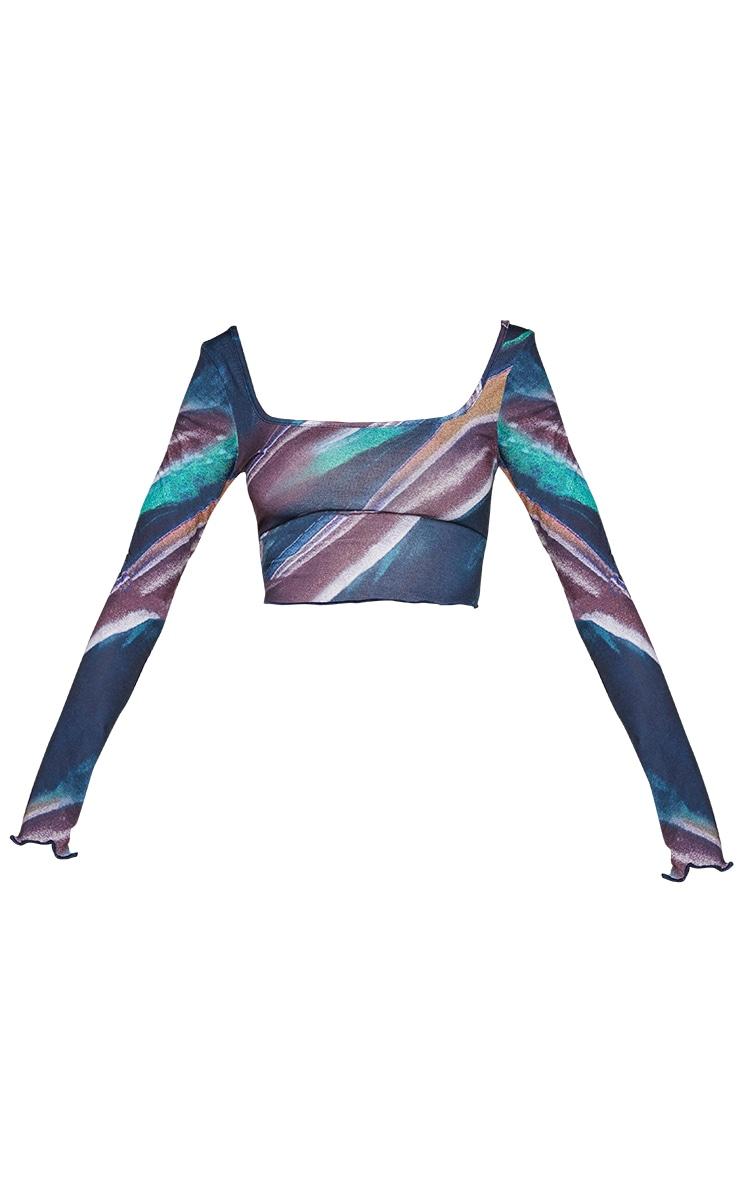 Teal Print Frill Hem Long Sleeve Crop Top 5