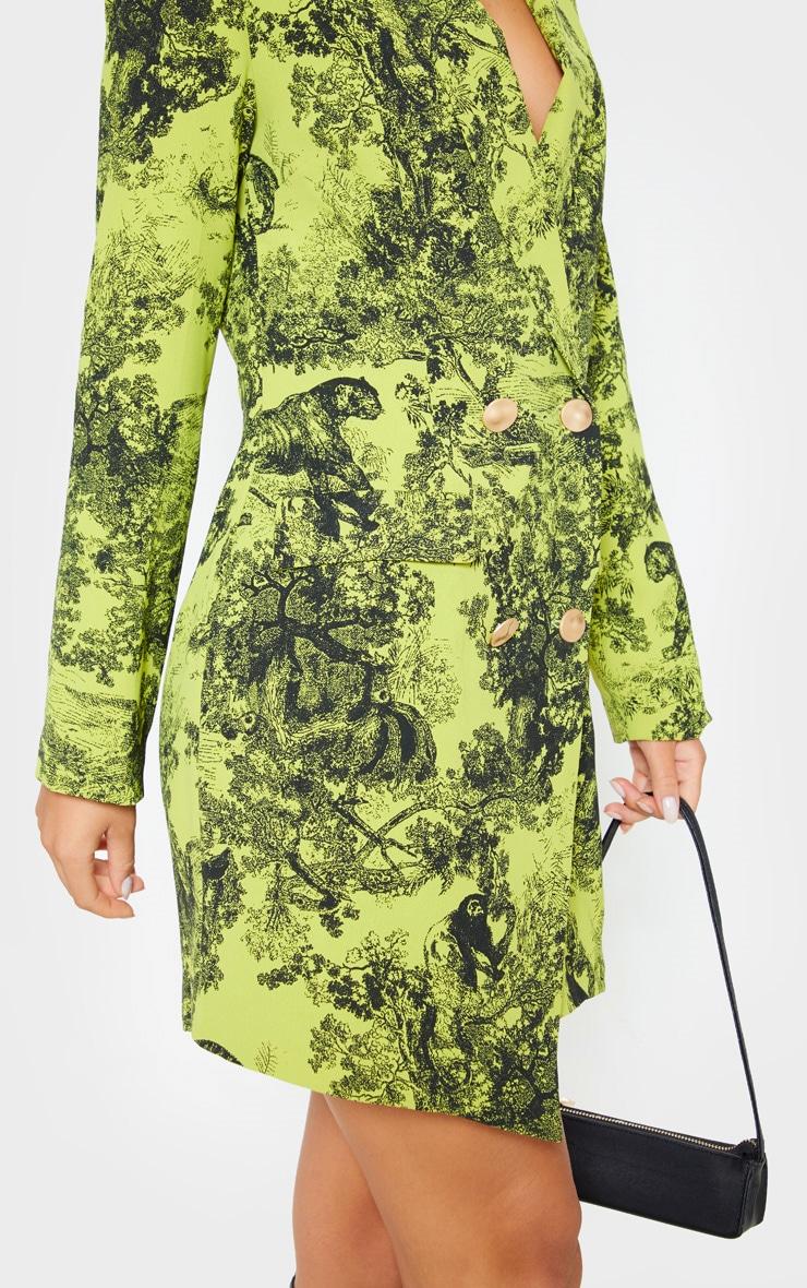 Lime Tiger Jungle Print Black Button Blazer Dress 5