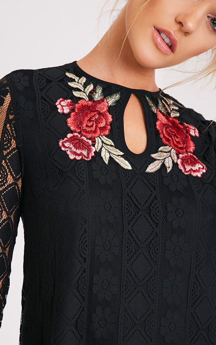 Marney Black Embroidered Detail Lace Shift Dress 6