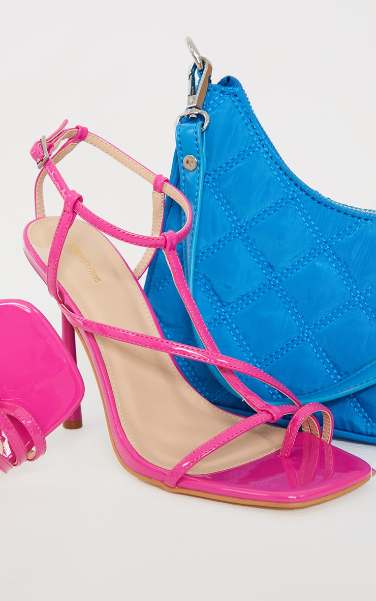 Pink Patent Toe Loop Strappy Heeled Sandals 3