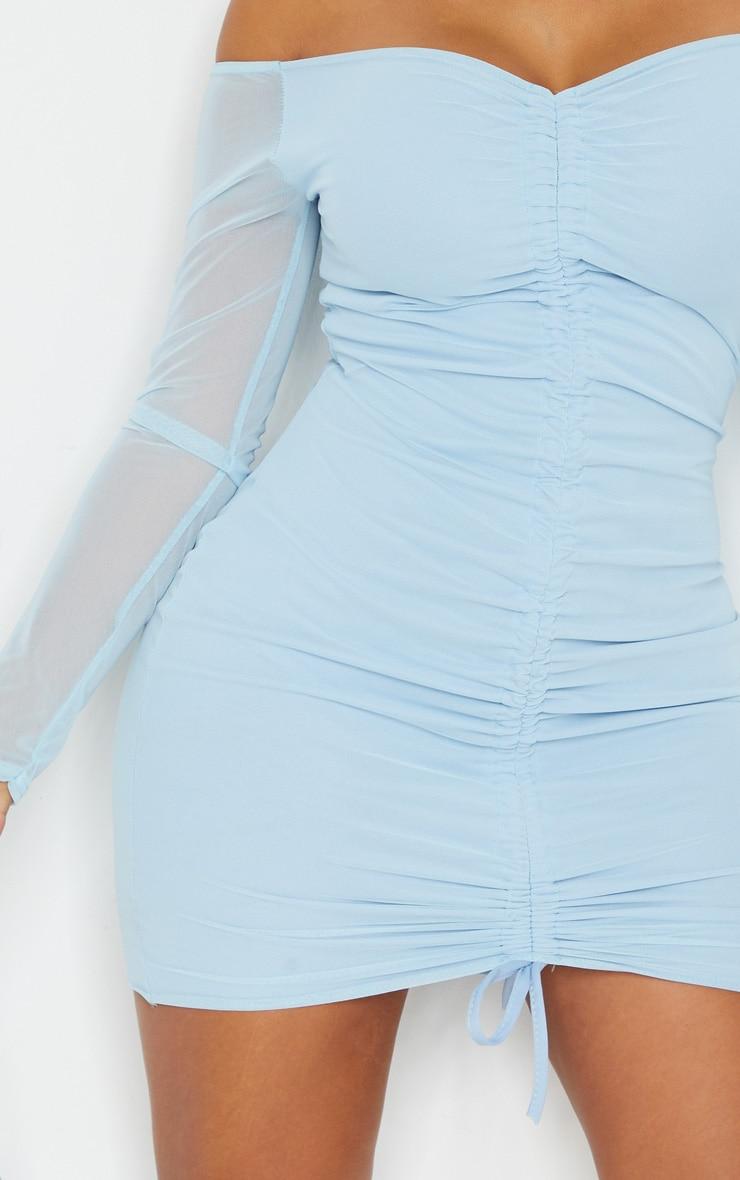 Shape - Robe moulante en mesh froncée bleu cendré 4