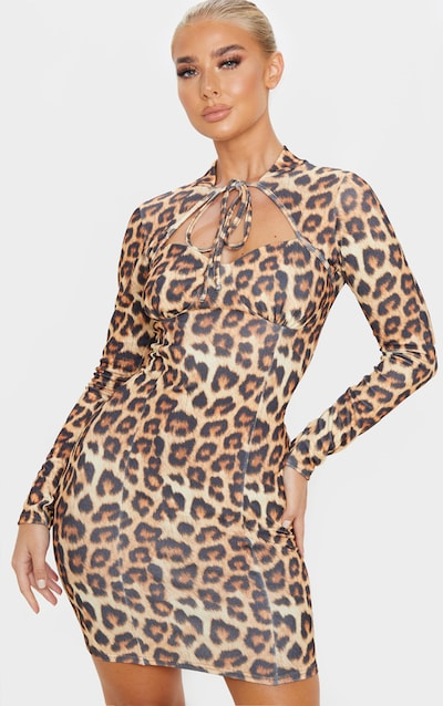 Brown Leopard Print Tie Neck Long Sleeve Bodycon Dress