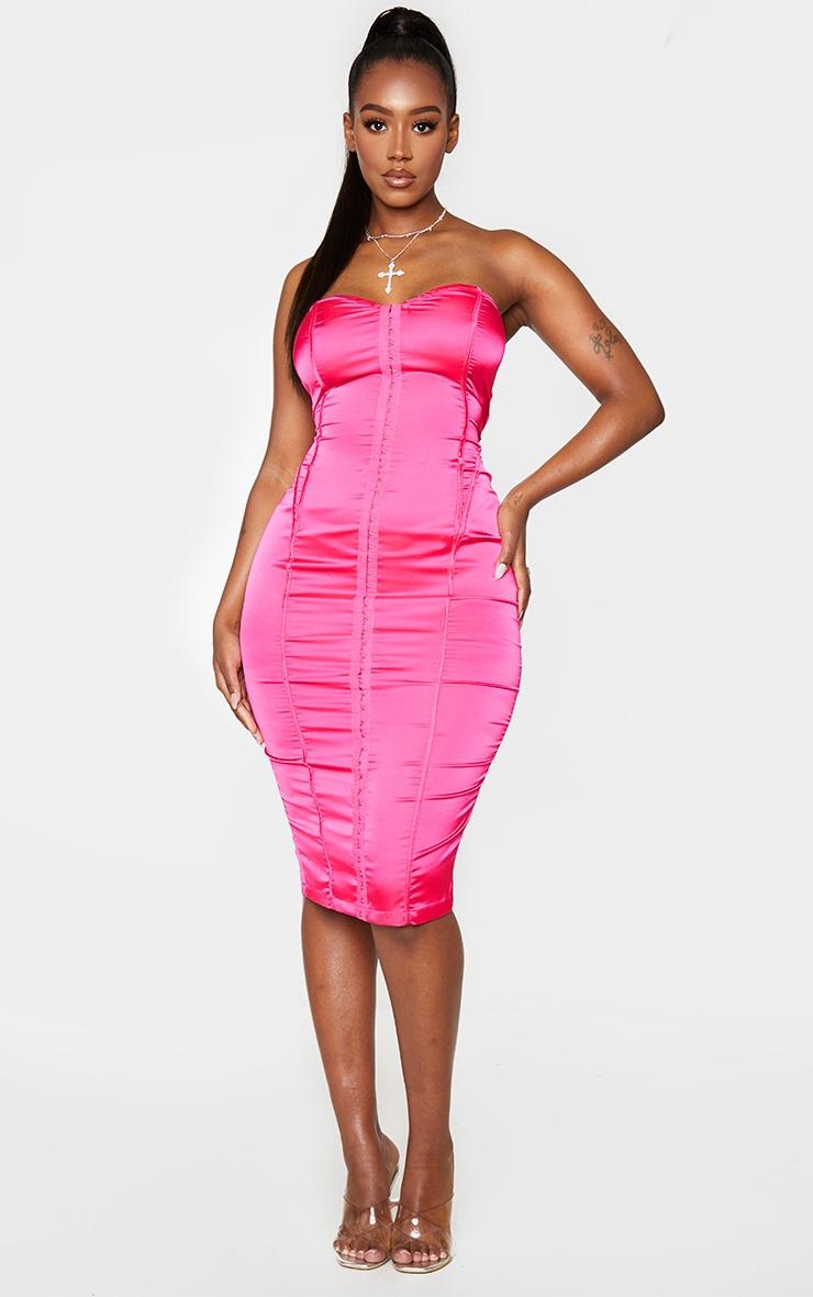 Shape Hot Pink Sweetheart Hook And Eye Midi Dress 3