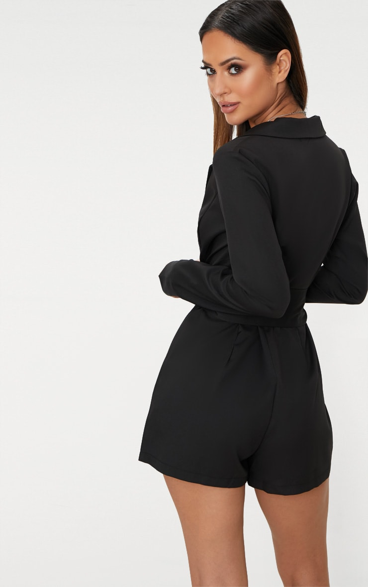 Black Tux Long Sleeve Playsuit 2