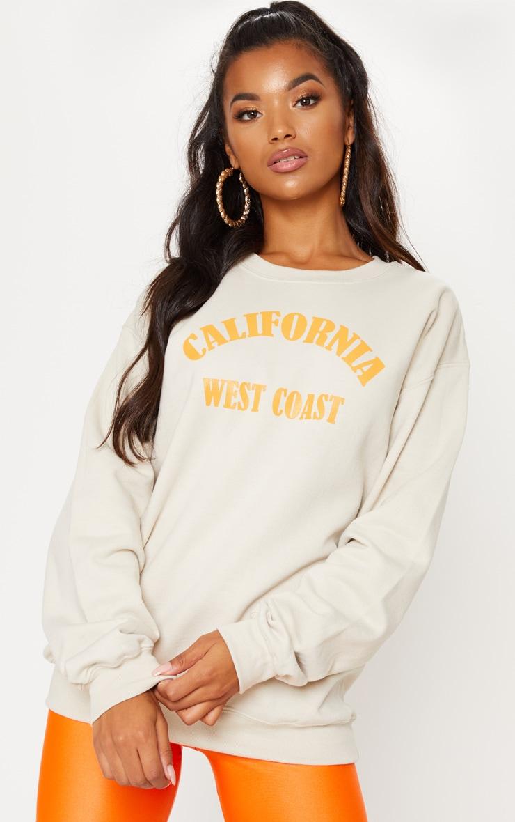 Sand California Orange Slogan Oversized Sweater