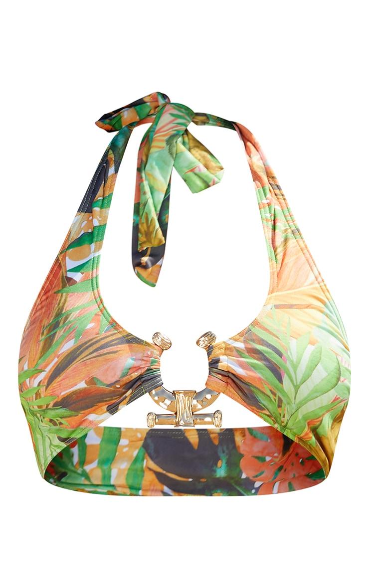 Green Leaf Print Cross Front Hammered Trim Bikini Top 5