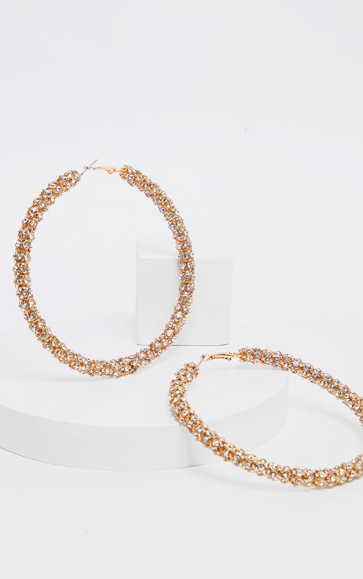 Gold Diamante Studded Larger Hoop Earring 2