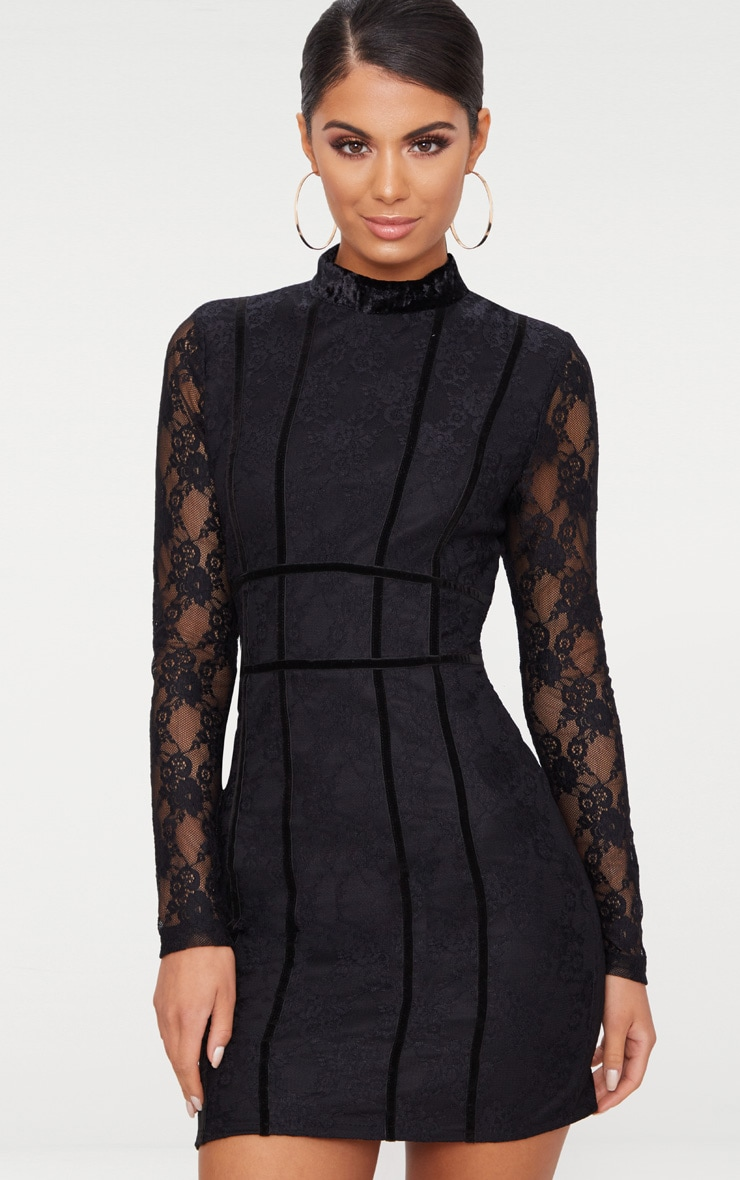Black Lace Piping Detail Bodycon Dress 1