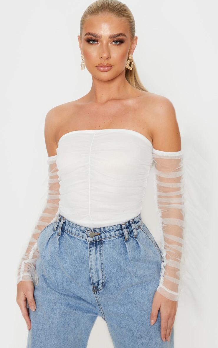 White Mesh Frill Sleeve Bardot Bodysuit 1