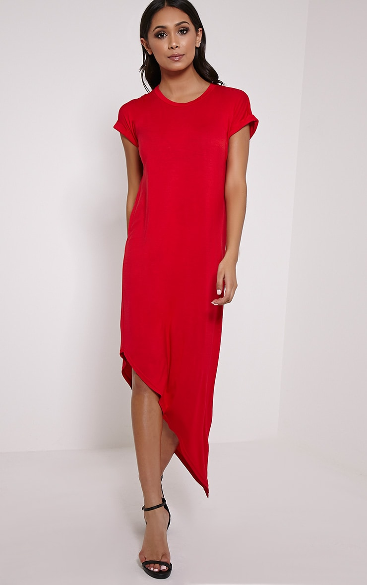 Nolah Red Asymmetric T-Shirt Dress 4