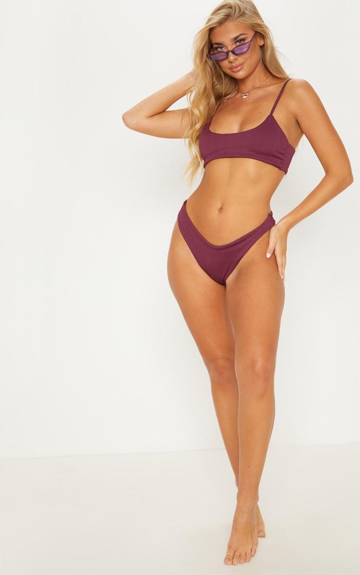 Plum Crinkle Scoop Neck Bikini Top 4