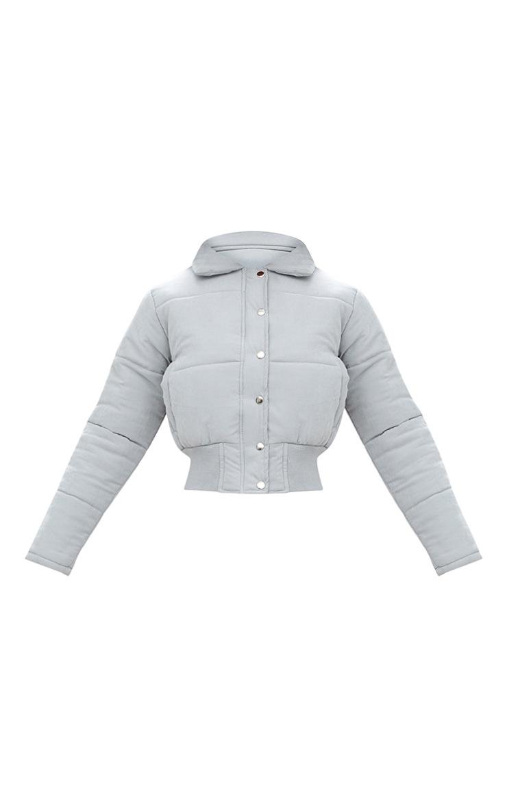 Grey Peach Skin Cropped Puffer Jacket 3