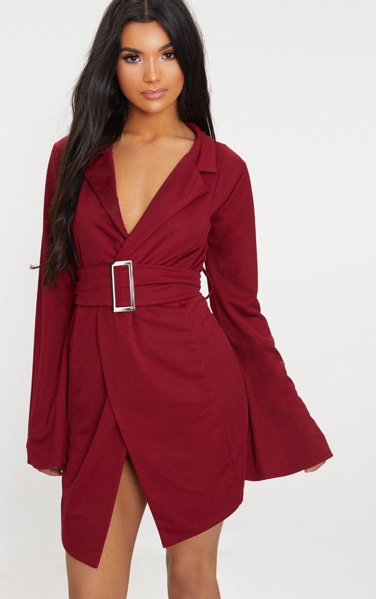 Burgundy Flared Sleeve Belt Detail Blazer  1