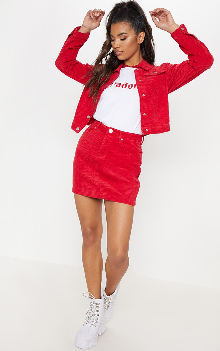 Red Jumbo Cord Cropped Jacket 4
