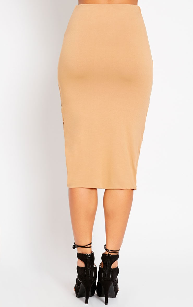 Asia Camel Jersey Ruched Midi Skirt 4