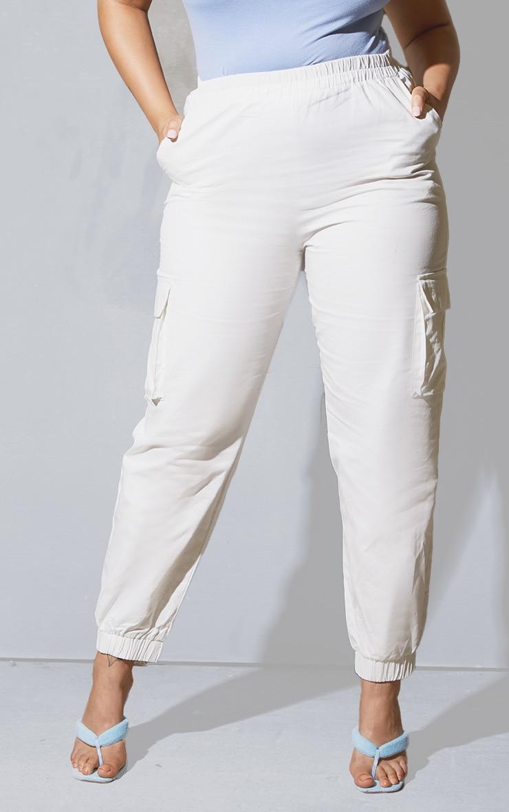 Plus White Cargo Detail Trousers 2