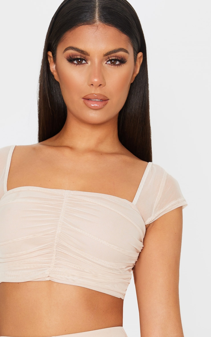 Nude Mesh Ruched Front Crop Top 6