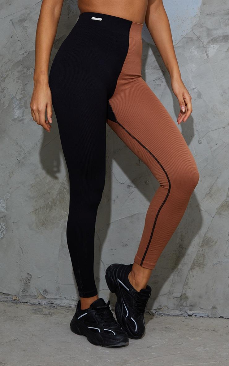 Nude 2 Colour Block Soft Rib Gym Leggings 2