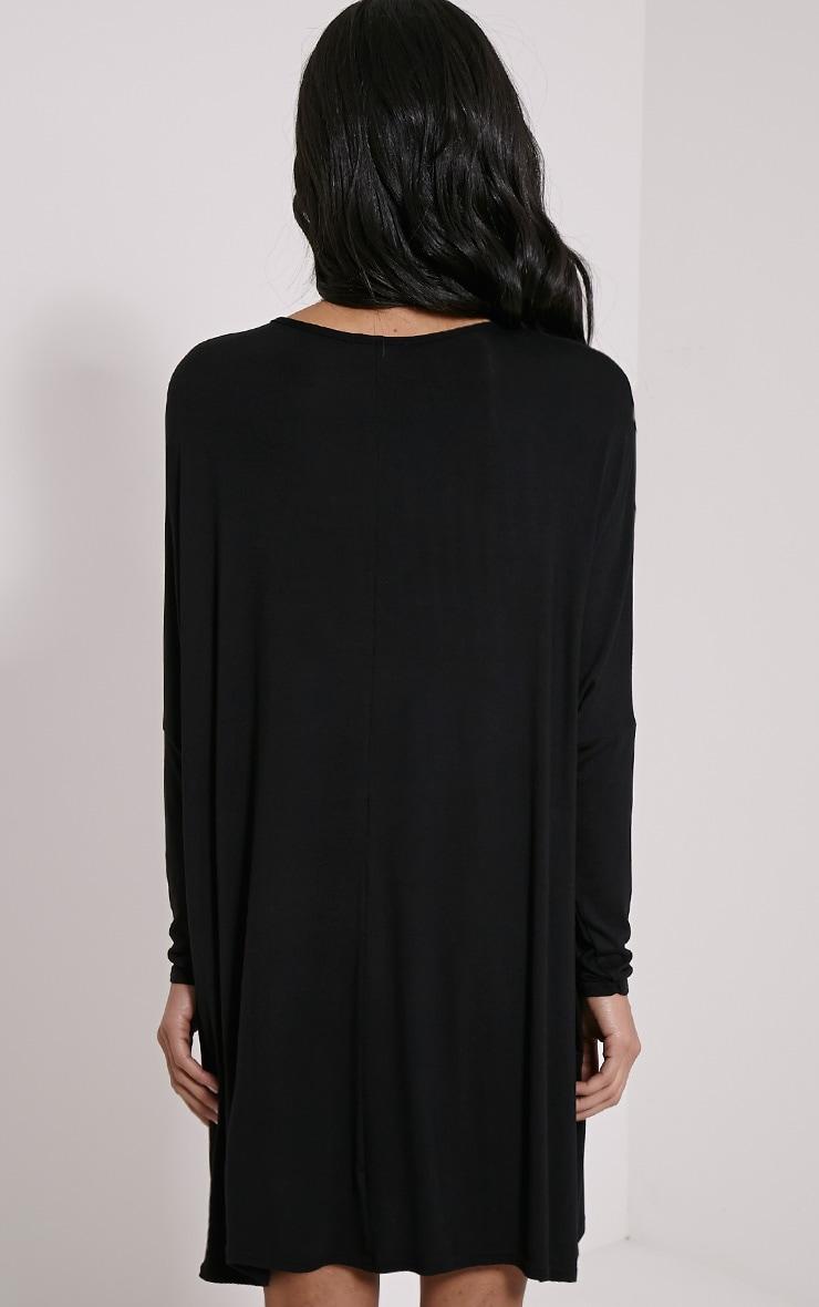 Basic Black Long Sleeve Jersey Dress 2