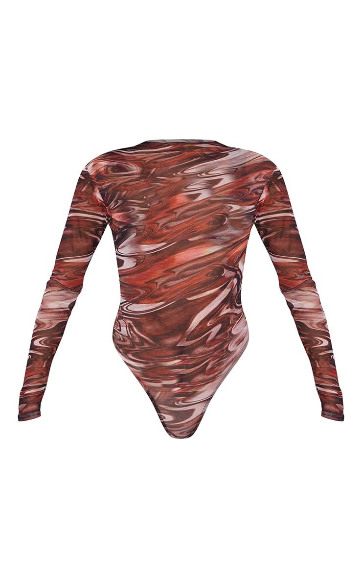 Chocolate Brown Printed Sheer Mesh High Neck Long Sleeve Bodysuit 5
