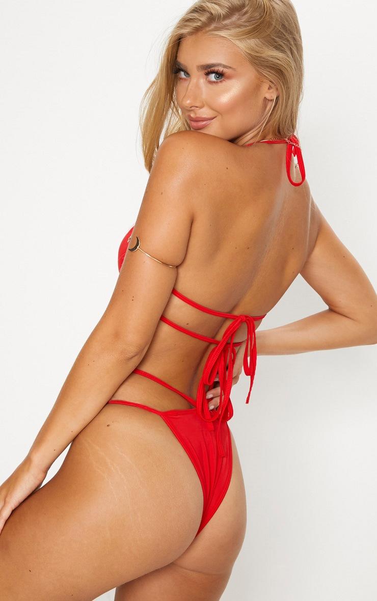 Red Cleavage Wire Bikini Top 2