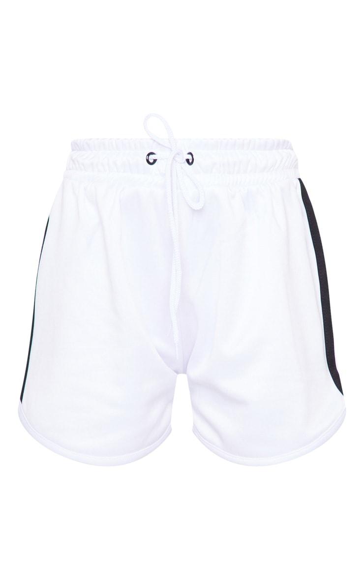 White Stripe Nylon Side Stripe Drawstring Shorts 6