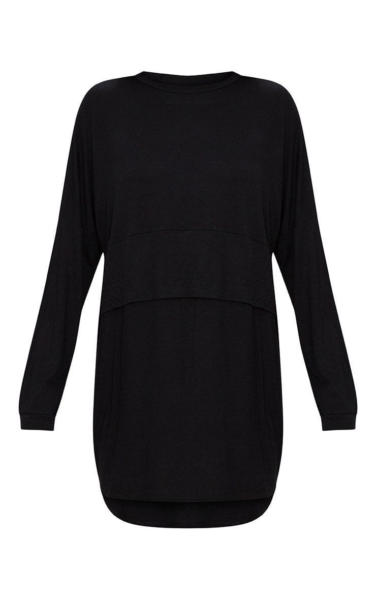 Black Long Sleeve Layer Jersey T Shirt Dress 2