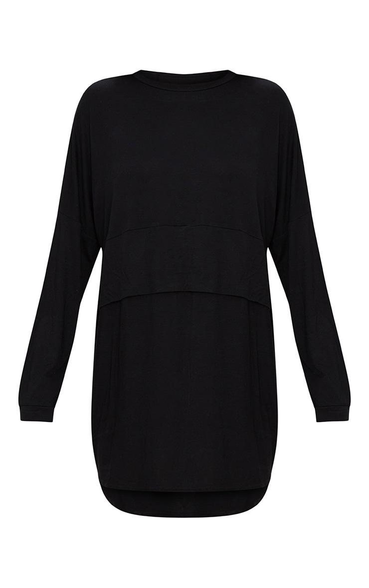 Robe t-shirt noire en jersey à superposition à manches longues 2