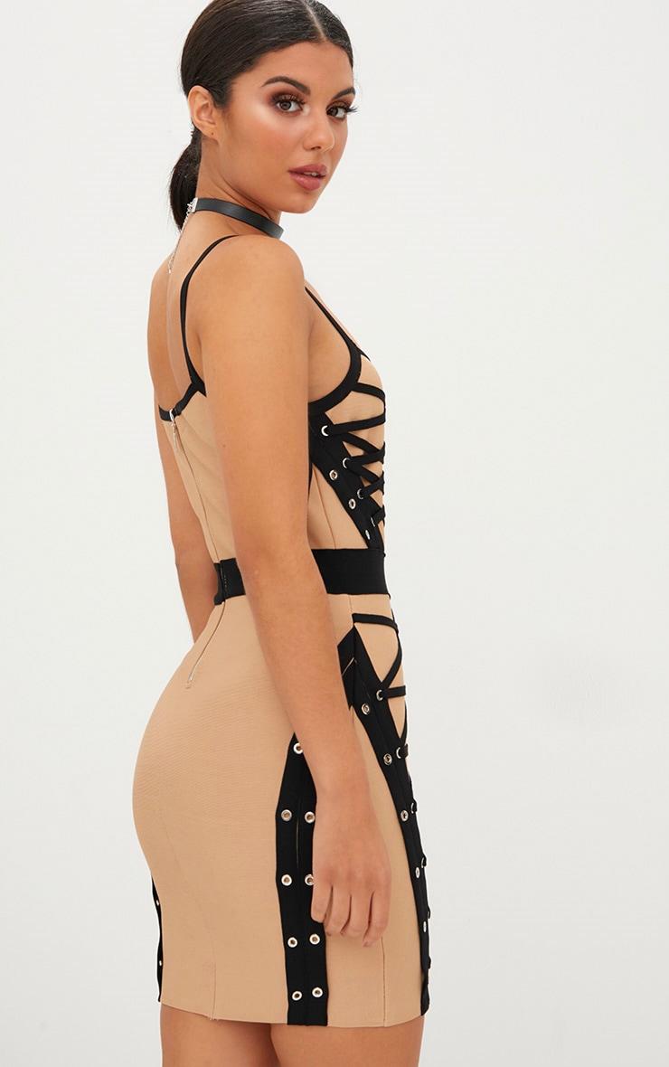 Black Bandage Eyelet Lace Up Strappy Bodycon Dress 2