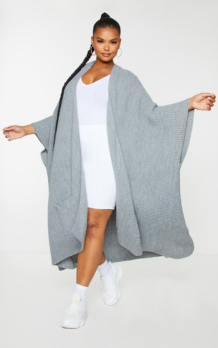Plus Grey Chunky Knit 3/4 sleeve Wrap Cardigan 3