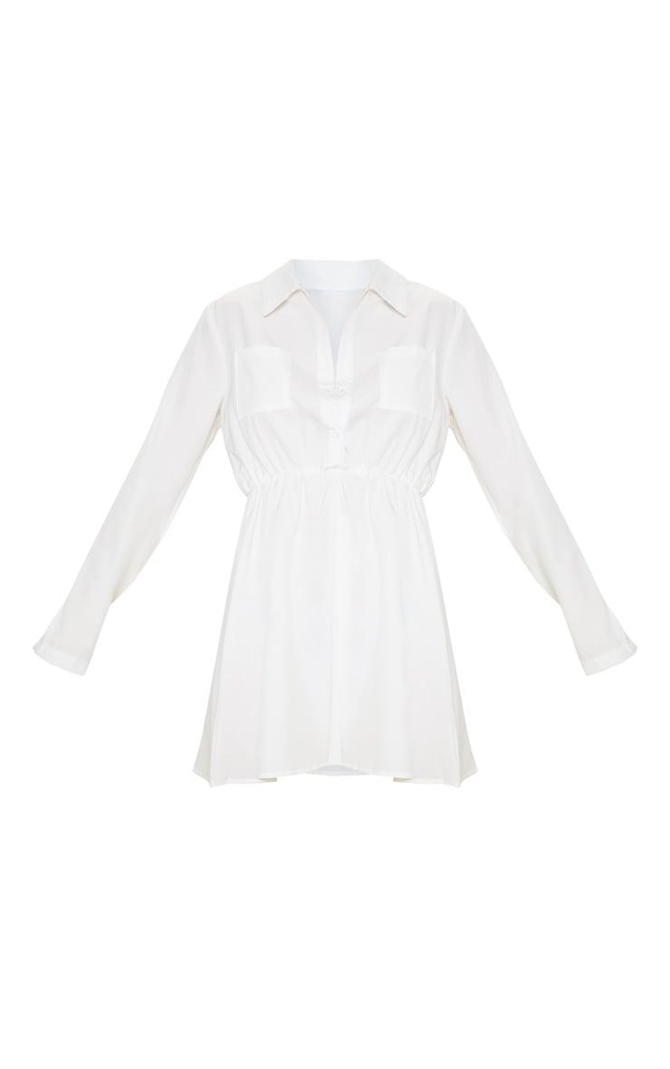 Robe chemise blanche à taille élastique et détail poches 3
