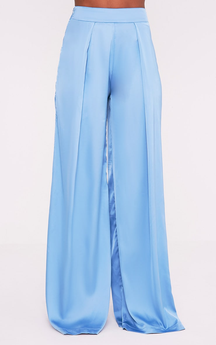 Dasia Blue Satin Pleated Wide Leg Trousers 3