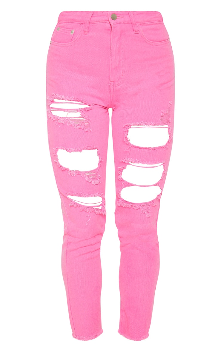 Bright Pink Extreme Distressed Mom Jeans 3