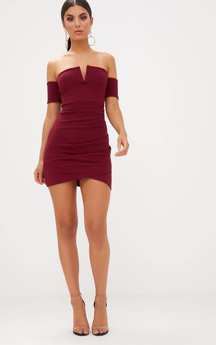 Burgundy Bardot Wrap Front Bodycon Dress  4