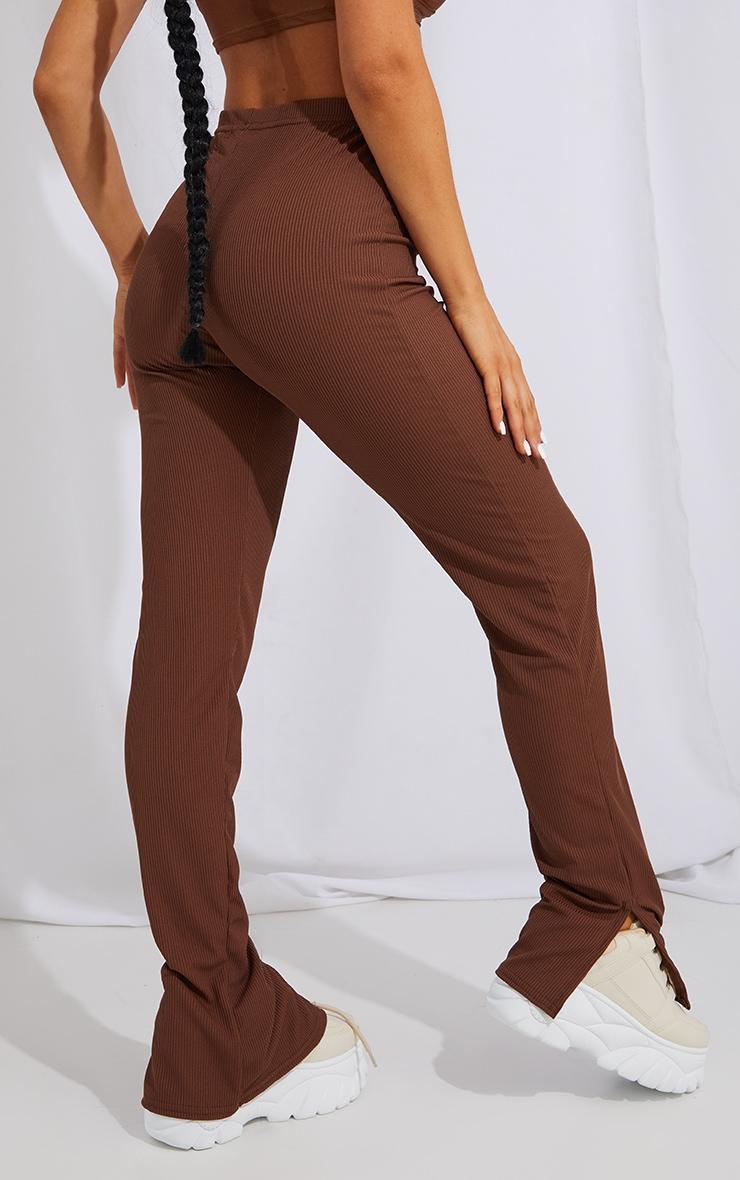 Recycled Chocolate Split Hem Trousers 3