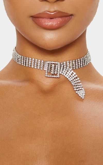 Silver Diamante Buckle Style Choker