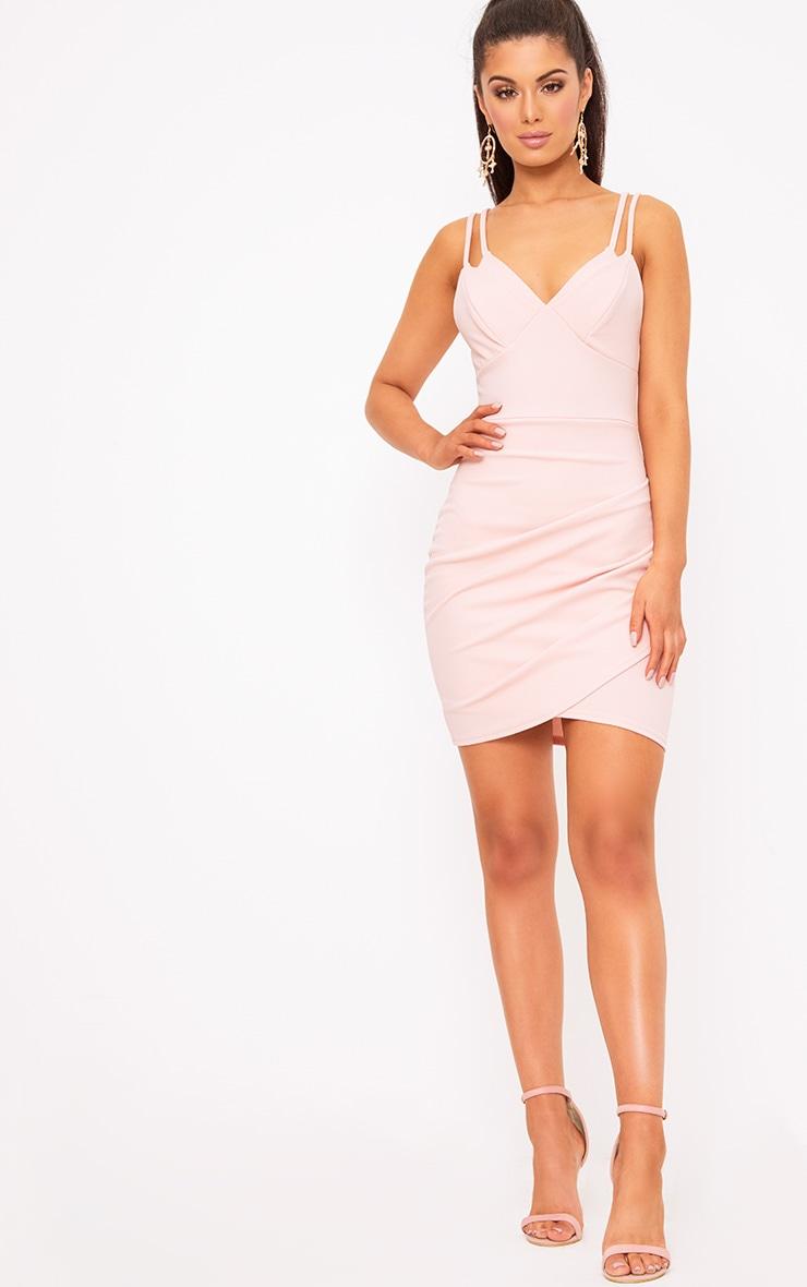 Pale Nude Double Strap Bodycon Dress 4