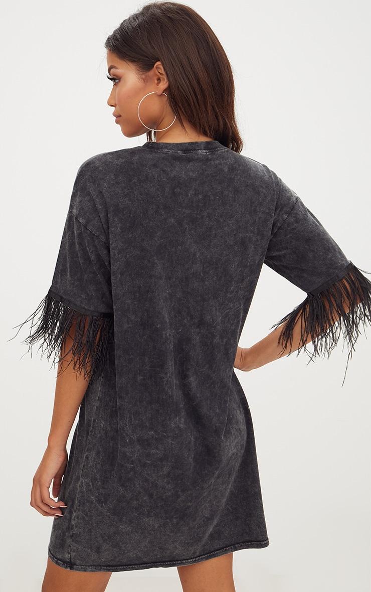 Acid Wash Feather Trim T Shirt Dress 2