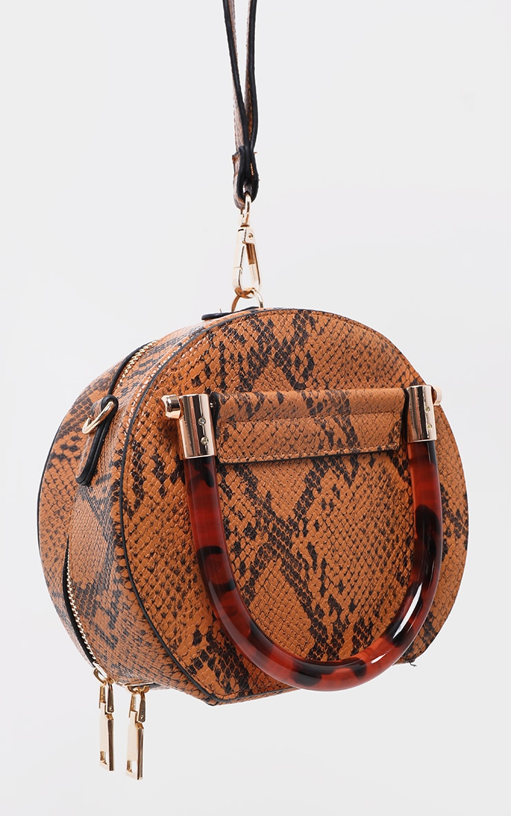 Tan Snakeskin Tortoiseshell Handle Cross Body Bag 3