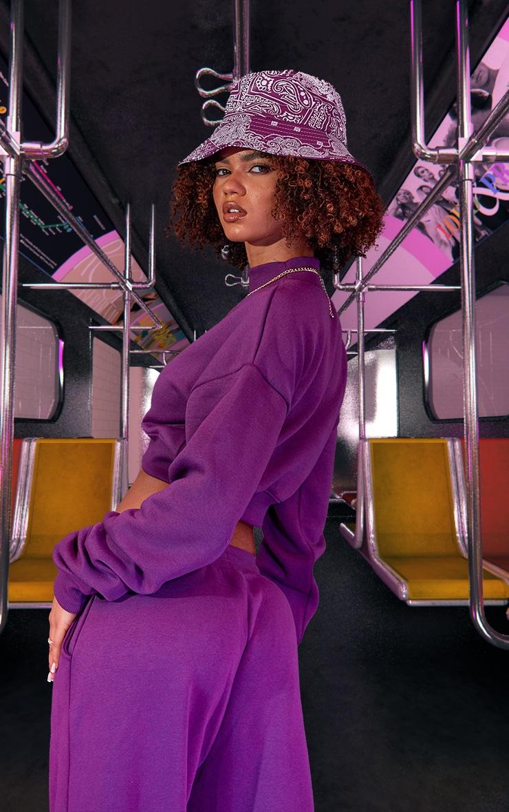 Purple High Neck Crop Sweatshirt 3