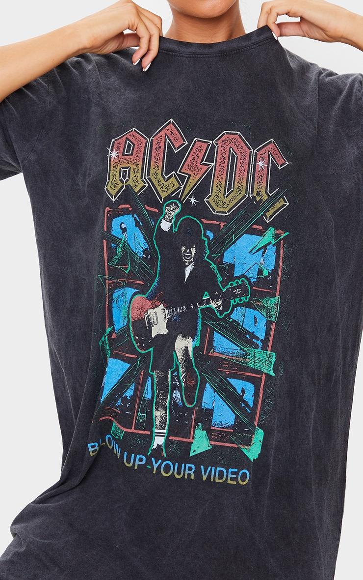Black ACDC Print Acid Wash T Shirt Dress 4