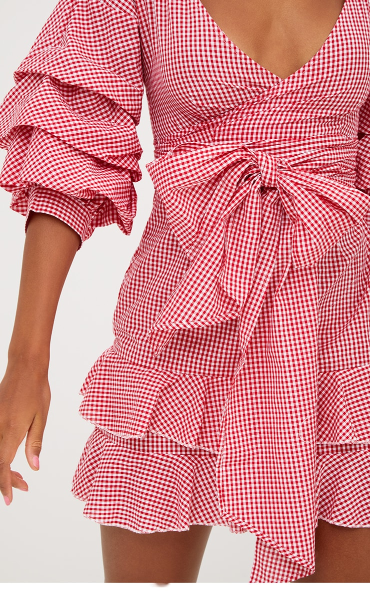Red Gingham Frill Sleeve Detail Mini Dress 4