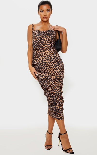 Brown Leopard Print Strappy Ruched Midaxi Dress