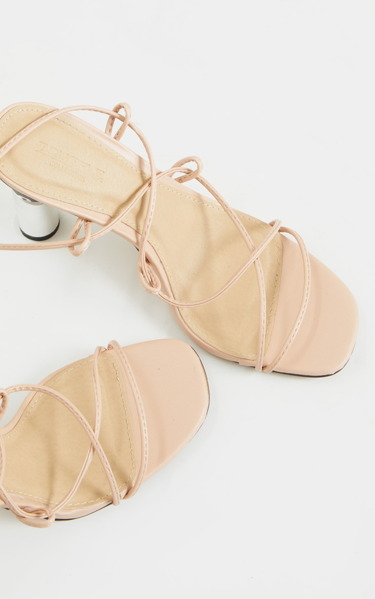 Nude Clear Cylinder Heel Ghillie Lace Up Sandal 4