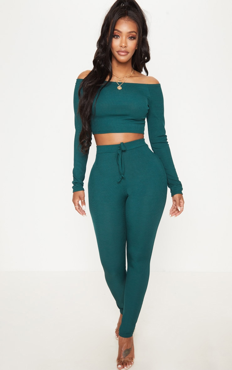Shape Emerald Green Ribbed High Waist Leggings 1
